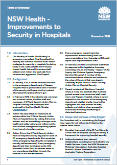 Terms of reference - NSW Health - Improvements to Security in Hospitals (November 2018)