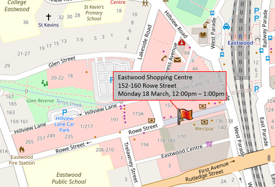 Map with flag marking Eastwood Shopping Centre 152-160 Rowe Street, dated Monday 18 March 12pm to 1pm.