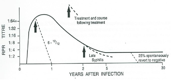 This is a graph with a Y axis representing RPR Titre levels and the X axis representing years after infection.
