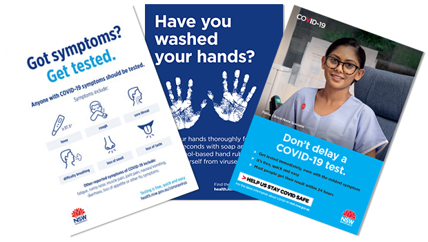 COVID-19 posters with messages including 'Got symptoms? Get tested', 'Have you washed your hands?', 'Don't delay a COVID-19 test'