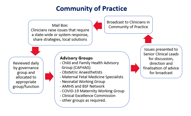 Community of practice: Mail Box: Clinicans raise issues that require a state-wide or system response, share strategies, local solutions. Reviewed daily by governance group and allocated to appropriate group/function. Advisory groups include Child and Family Health Advisory Group, Obstetric Anaesthetists, Maternal Fetal Medicine Specialists, Neonatal Working Group, AMIHS and BSF Network, COVID-19 Maternity Working Group and Clinical Excellence Commission. Issues are presented to Senior Clinical Leads for discussion, direction and finalisation of advice for broadcast. This is broadcast to clinicians in the Community of Practice.