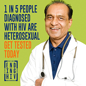 1 in 5 people diagnosed with HIV are heterosexual. Get tested today.