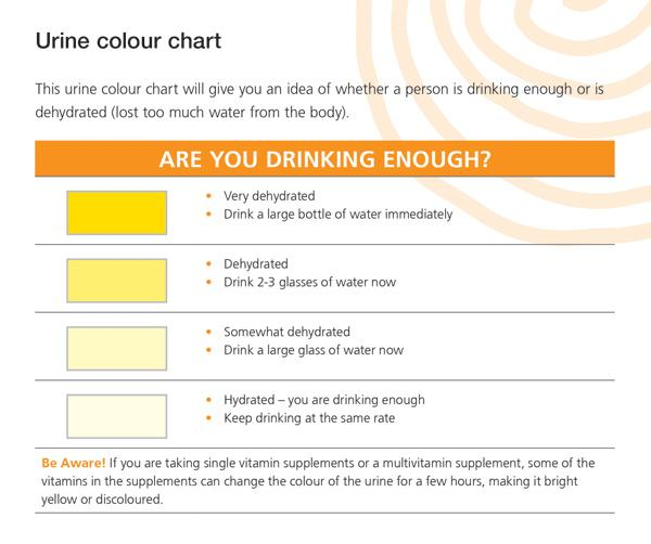 This urine colour chart will give you an idea of whether a person is drinking enough or is dehydrated (lost too much water from the body). Dark yellow urine - very dehydrated; drink a large bottle of water immediately. Bright yellow urine - dehydrated; drink 2-3 glasses of water now. Light yellow urine - somewhat dehydrated; drink a large glass of water now. Almost clear urine - hydrated - you are drinking enough; keep drinking at the same rate. Be Aware! If you are taking single vitamin supplements or a multivitamin supplement, some of the vitamins in the supplements can change the colour of the urine for a few hours, making it bright yellow or discoloured.