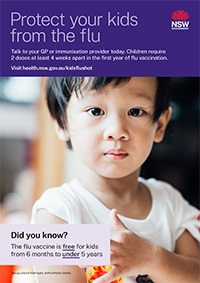 Poster - Flu vaccine is FREE for kids from 6 months to UNDER 5 years