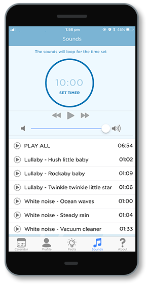 Mobile phone showing app sounds screen with different lullabies and white noise tracks and timer