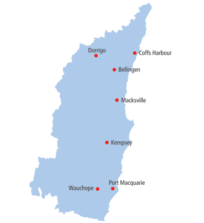 Mid North Coast Map Mid North Coast   Local health districts Mid North Coast Map