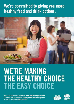 Healthy Food and Drink in NSW Health Facilities for Staff and Visitors Framework poster artwork