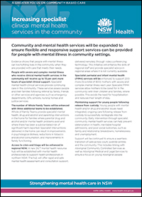 Increasing Specialist Clinical Mental Health Services in the Community