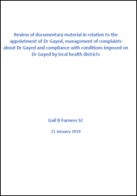 Section 122 Health Services Act: Independent inquiry relating to Dr Emil Gayed