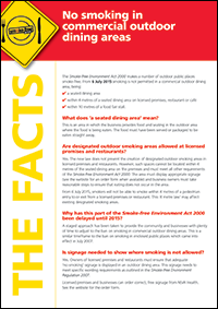 No smoking in commercial outdoor dining areas fact sheet in English