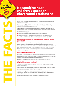 No smoking near children's outdoor playground equipment fact sheet in English