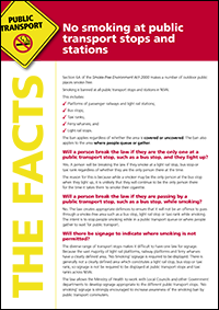 No smoking at public transport stops and stations fact sheet in English