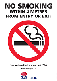 No smoking within 4 metres from entry or exit