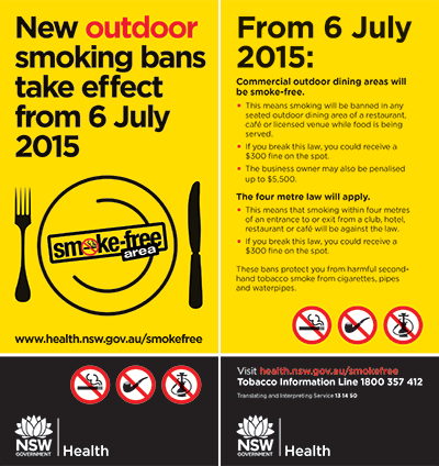 New outdoor smoking bans take effect from 6 July 2015