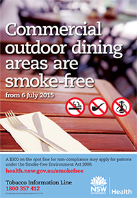 Commercial outdoor dining areas are smoke-free