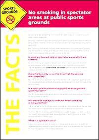 No smoking in spectator areas <br/>at public sports grounds fact sheet in English