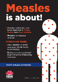 Measles is about! Outbreaks in the Pacific poster (English)