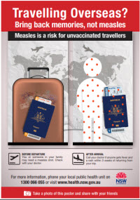 Measles awareness poster for travellers