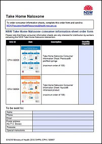 naloxone consumer information sheet order form